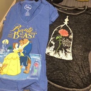 TWO Beauty and the Beast tees Size M